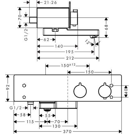Baterie de cada termostatata Hansgrohe ShowerTablet 350