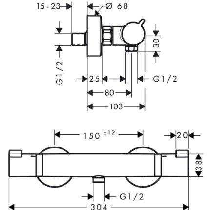 Baterie dus termostatata Hansgrohe Comfort chrome
