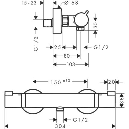 Baterie dus termostatata Hansgrohe Ecostat Comfort, alb mat