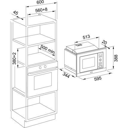 Cuptor cu microunde incorporabil Franke Smart Plus FMW 20 SMP G XS 20 litri, 60cm, timer, Cristal negru / inox