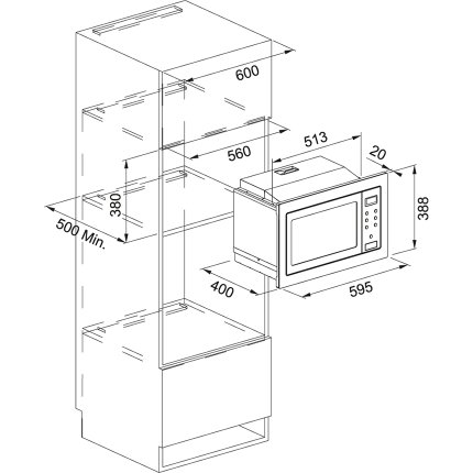 Cuptor cu microunde incorporabil Franke Smart FSM 25 MW XS 25 litri, 900W