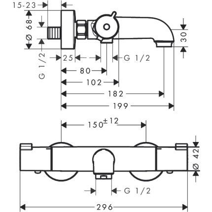 Set baterii 3in1 Hansgrohe Ecostat Termostatic, include baterie lavoar, baterie cada termostatata si set de dus
