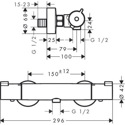 Set baterii 3in1 Hansgrohe Ecostat Termostatic, include baterie lavoar, baterie dus termostatata si set de dus