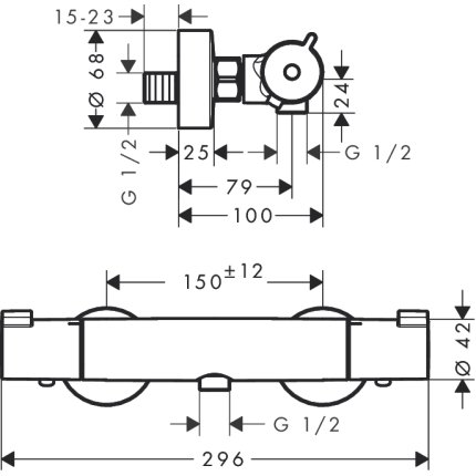 Baterie dus termostatata Hansgrohe Ecostat 1001 CL cu set de dus Crometta New 100 Vario