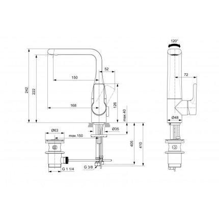 Baterie lavoar Ideal Standard Attitude cu pipa inalta, ventil pop-up