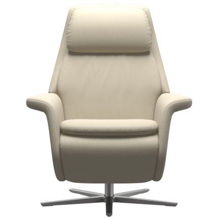 Fotoliu recliner Stressless Sam, baza  Sirius, Power Heating Massage, picioare aluminiu mat, tapiterie piele Batik Cream