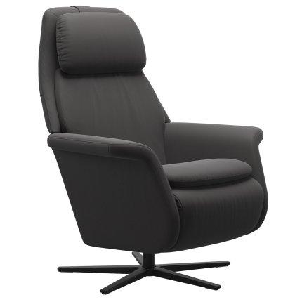 Fotoliu recliner Stressless Sam, baza  Sirius, Power Heating Massage, picioare negru mat, tapiterie piele Paloma Rock