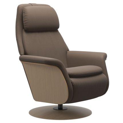 Fotoliu recliner Stressless Sam Wood, baza Disc, Power Heating Massage, picioare oak, tapiterie piele Batik Mole