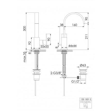 Baterie lavoar Steinberg seria 135 cu pipa rotativa, ventil pop-up, Matt Black