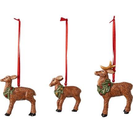 Set 3 decoratiuni brad Villeroy & Boch Nostalgic Ornaments Deer Family, 7cm