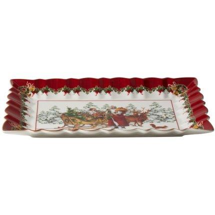 Platou rectangular Villeroy & Boch Toy's Fantasy Cake Santa & Sleigh 35x23cm