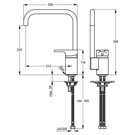 Baterie bucatarie Ideal Standard Active cu pipa inalta