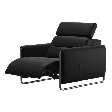 Fotoliu recliner Stressless Emily Arm Steel, brate crom, tapiterie piele Batik Black