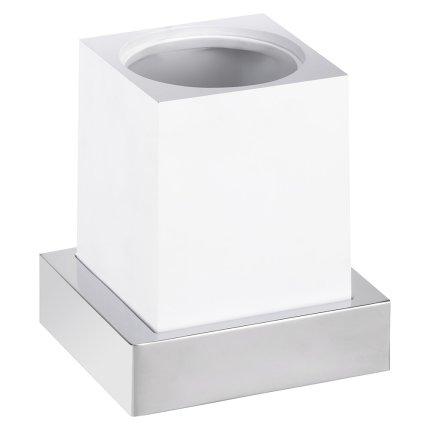 Perie wc cu suport Bemeta Gamma de perete, patrat, alb