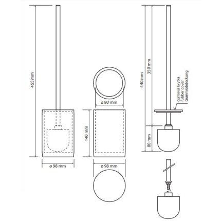 Perie wc cu suport Bemeta Gamma rotund, negru