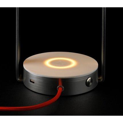Veioza SLV Brenda, LED 11W, h40cm, incarcare wireless, USB, argintiu-alb