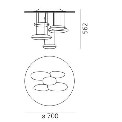 Plafoniera Artemide Mercury Mini design Ross Lovegrove, LED 29W, Inox