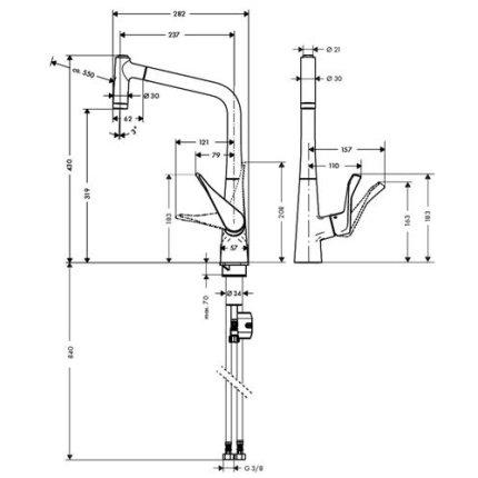Baterie bucatarie Hansgrohe Metris 320, dus extractibil, inox optic