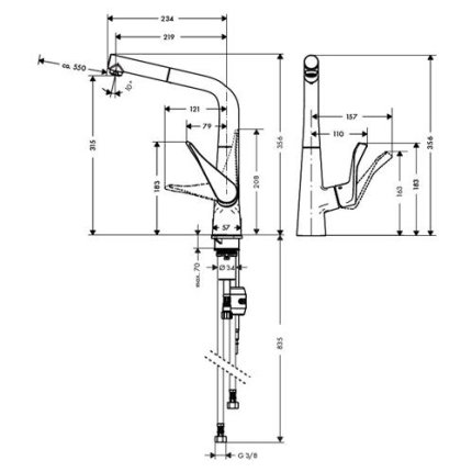 Baterie bucatarie Hansgrohe Metris, dus extractibil, crom