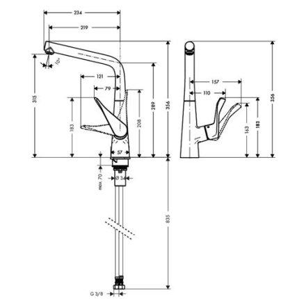 Baterie bucatarie Hansgrohe Metris, otel inoxidabil