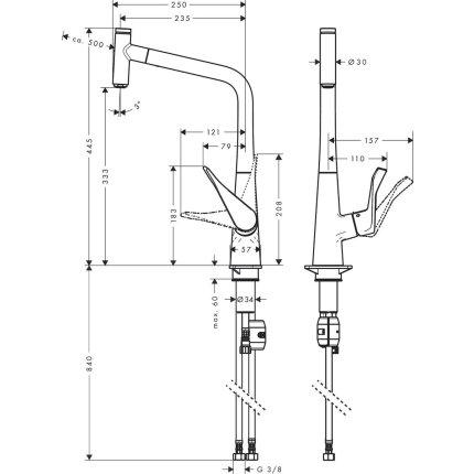 Baterie bucatarie Hansgrohe Metris Select 320, dus extractibil, finisaj inox optic
