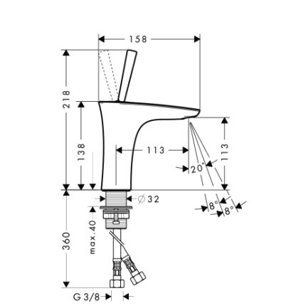 Baterie lavoar Hansgrohe PuraVida 110, ventil push-open, crom