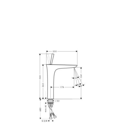 Baterie lavoar Hansgrohe PuraVida 240, ventil push-open, pentru lavoar tip bol, crom