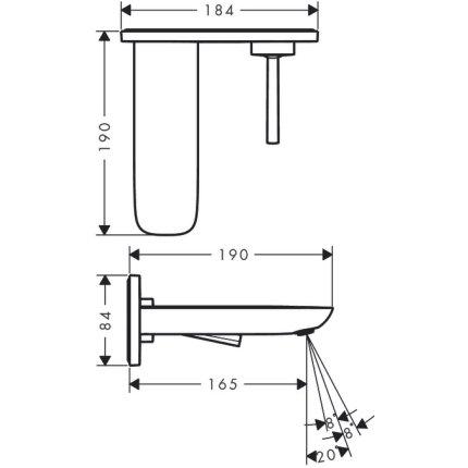 Baterie lavoar Hansgrohe PuraVida din doua elemente, pipa 165 mm, montaj pe perete, necesita corp ingropat