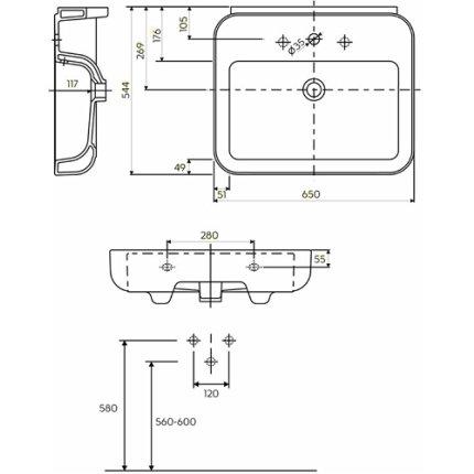 Lavoar Kolo Ego 65cm, glazura Reflex