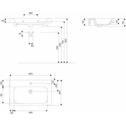 Lavoar Kolo Modo 80cm, montare pe mobilier, glazura Reflex