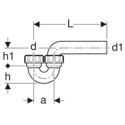 Sifon pentru chiuveta bucatarie Geberit tip P, diametru 50mm