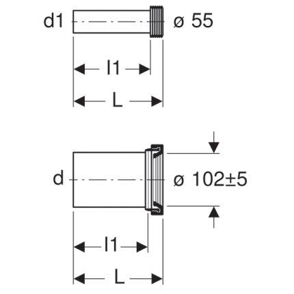 Set conectare Geberit pentru vas wc suspendat, fara inel conectare