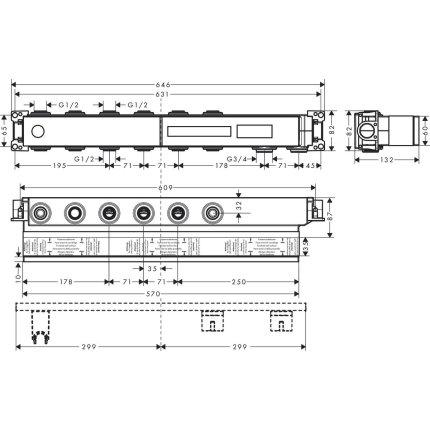 Corp incastrat Hansgrohe pentru baterie RainSelect cu 4 functii
