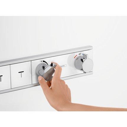 Baterie dus termostatata Hansgrohe RainSelect cu 4 functii si agatatoare dus, montaj incastrat, necesita corp ingropat, crom