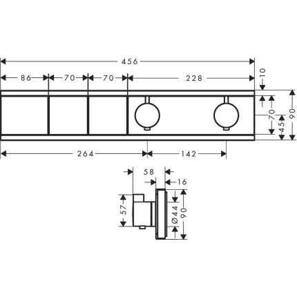 Baterie dus termostatata Hansgrohe RainSelect cu 2 functii, montaj incastrat, necesita corp ingropat, crom