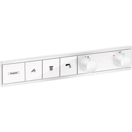 Baterie dus termostatata Hansgrohe RainSelect cu 3 functii, montaj incastrat, necesita corp ingropat, alb mat