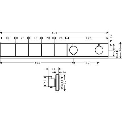 Baterie dus termostatata Hansgrohe RainSelect cu 4 functii, montaj incastrat, necesita corp ingropat, crom