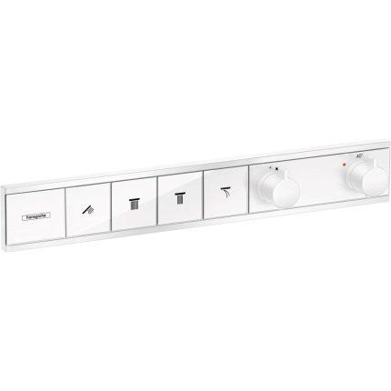Baterie dus termostatata Hansgrohe RainSelect cu 4 functii, montaj incastrat, necesita corp ingropat, alb mat