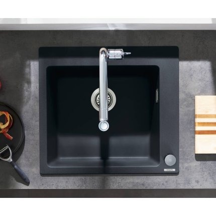 Chiuveta bucatarie Hansgrohe S510-F450 SilicaTec 450, cu 1 cuva, 51x56x19cm, graphite black