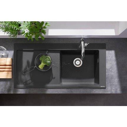 Chiuveta bucatarie Hansgrohe S514-F450 SilicaTec 450, 51x105x19cm, picurator stanga, concrete grey