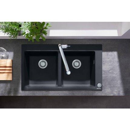 Chiuveta Hansgrohe S510-F770 SilicaTec 370/370, 41.5x88x19cm, cu doua cuve, graphite black