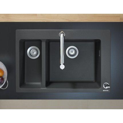 Chiuveta bucatarie Hansgrohe S510-F635 SilicaTec 180/450, cu 2 cuve inegale, 51x77x19cm, graphite black