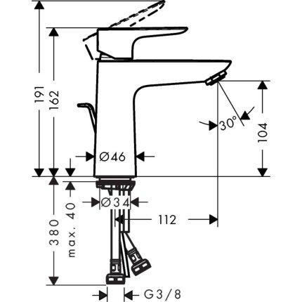 Baterie lavoar Hansgrohe Talis E 110, ventil pop-up, negru mat
