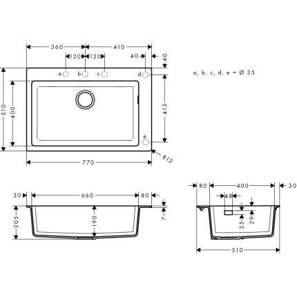 Chiuveta bucatarie Hansgrohe S510-F660 SilicaTec 660, cu 1 cuva, 51x77x19cm, concrete grey