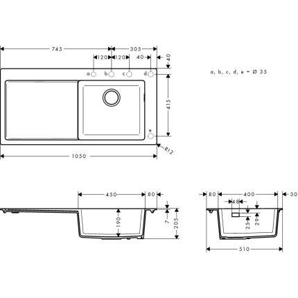 Chiuveta bucatarie Hansgrohe S514-F450 SilicaTec 450, 51x105x19cm, picurator stanga, graphite black