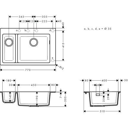 Chiuveta Hansgrohe S510-F635 SilicaTec 180/450, 41.5x77x19cm, concrete grey