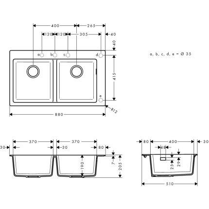 Chiuveta Hansgrohe S510-F770 SilicaTec 370/370, 41.5x88x19cm, cu doua cuve, stone grey