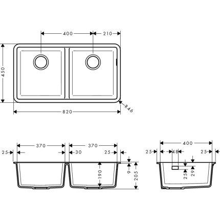 Chiuveta Hansgrohe S510-U770 SilicaTec 370/370, 45x82x19cm, cu doua cuve, montare sub blat, concrete grey