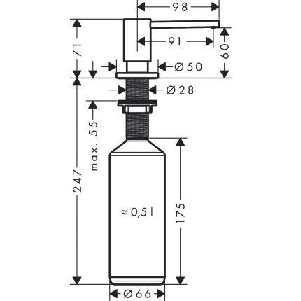 Dozator sapun lichid Hansgrohe A41, finisaj inox