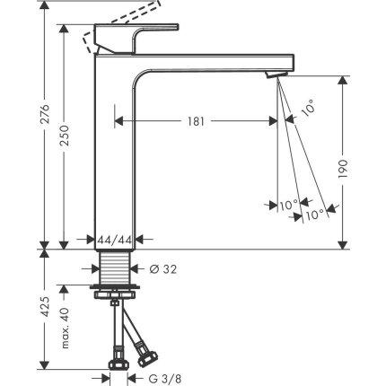 Baterie lavoar Hansgrohe Vernis Shape 190, pentru lavoar tip bol, crom